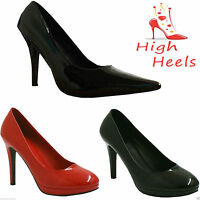 WOMENS LADIES MENS HIGH HEEL CONCEALED PLATFORM POINTED COURT SHOES PUMPS SIZE