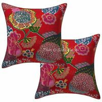 Handmade Cotton Kantha Cushion Cover Indian Decorative Pillow Case Cover Throw