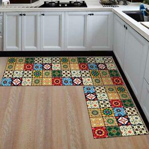 2Pcs Kitchen Door Floor Mat Non Slip Hallway Runners Washable Area Rug Carpet