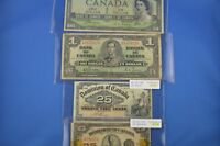 4  Canadian  Banknotes   2 x Shinplasters    2 x $1.00 Bills   1937  - 1954 D.F.