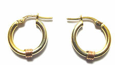 9Carat Hoop Multi-Tone Gold Fine Earrings without Stones