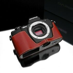 GARIZ Leather Case for Olympus OMD EM10 XS-CHEM10R Red