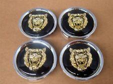 Jaguar Wheel Badge Center Caps BLACK and GOLD Growler Set Of 4 OEM MNA6249FA