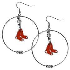 Boston Red Sox 2 inch Hoop Earrings MLB Licensed Baseball Jewelry