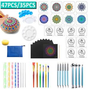 35 47PCS Mandala Dotting Tools Pen Rock Painting Kit Dot Art Paint Stencils Sets