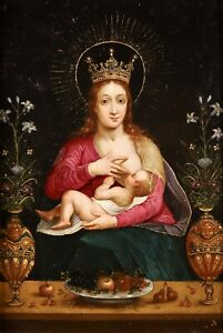 c. 1600 FINE FLEMISH OLD MASTER OIL ON COPPER PANEL - CROWNED VIRGIN AND CHILD