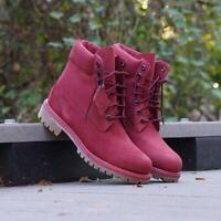 "TIMBERLAND PREMIUM 6"" WATERPROOF BOOT MEN'S BURGUNDY NUBUCK TB0A1QYGM49"