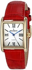 Peugeot Women's 14K Gold Plated Tank Leather Dress Watch 3036RD