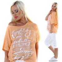 Damen Oversize Italy Vintage Party Sommer Shirt Pailletten Risse 36 38 aprico