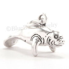 Manatee Charm Pendant Florida Marine Animal Sterling Silver 925 solid 4 gr 3D