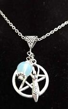 New Antique Silver Pentagram Goddess Charm Pendant Crystal Necklace Chain Wicca