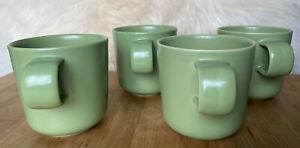 4 Hoganas Keramik Mugs Green Pottery MCM Danish Modern Made in Sweden Beautiful