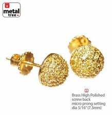 Men's Dome Berry Brass 14K Gold Plated Pave Yellow CZ Screw Back Earrings 943 2G
