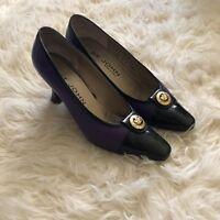 St John Purple Leather Black Toe Classic Shoes Heels Size 8 AA