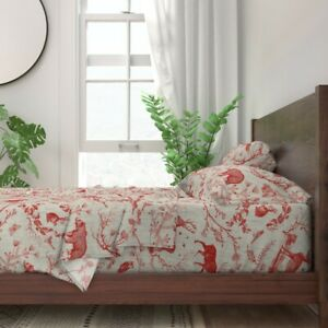 Toile Christmas Woodland Red And 100% Cotton Sateen Sheet Set by Roostery