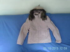 Womans Size 14 - Beige Fur Trimmed Hooded Warm Jacket  - Jane Norman