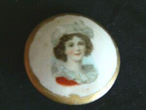 Antique Vtg LOVELY LADY Transfer Porcelain/Ceramic Glazed Button Applied Wedge