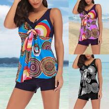 Women Two Piece Tankini Sets Swimsuits Swimwear Swimming Costume With Shorts