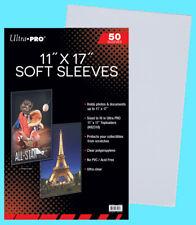 "50 ULTRA PRO 11""x17"" PREMIUM SOFT SLEEVES Fit Topload Photo Clear 11x17 Print"