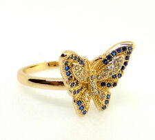Women Blue Luxury Butterfly Ring 7 N.5 18K Yellow Gold Plated Simulated Diamond