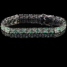 2 Rows Natural Colombian Emerald Bracelet 2mm Top Green Gems 925 Sterling Silver