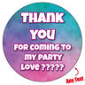 Personalised Watercolour Rainbow Thank You Birthday Party Stickers Label 606