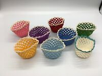 Vintage mid-century (8) hand crocheted glass cozies each one a different color