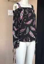 Floral Bardot Blouse Size 4 6 Black Strappy Tie Sleeve Summer Holiday Floaty