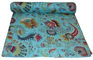 Indian Embroidery Kantha Quilt Bedspread Floral print Throw Cotton Turquoise