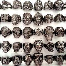 30 Men's Black or Dark Gray Skull Skeleton Rings Boy Punk Biker Ghost Cool Ring