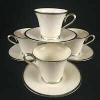Set of 4 VTG Footed Cups and Saucers Lenox Moonspun White Floral Platinum USA