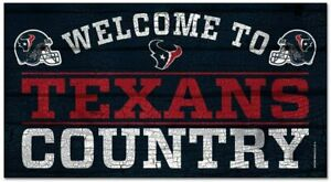 NFL Houston Texans Welcome to Country Wood Sign Holzschild Holz 61x33 Football