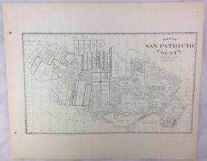 Antique General Land Office Map San Patricio County Texas Showing Plats ++