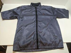 Mens Vintage Air Jordan Blue Shiny Short Sleeve Zip Warm Up Jacket Mesh Lined L