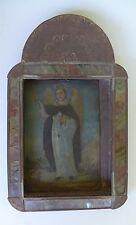 """Vintage Mexican St. Vincent Ferrer retablo tin nicho religious art 8 """" x 10 3/4"""""""