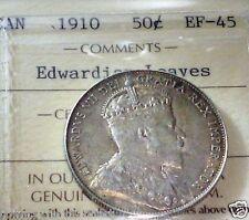1910  CANADA 50 CENTS EF -EDWARDIAN LEAVES