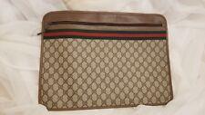 100% Authentic 1985's Gucci Canvas Zip Portfolio Briefcase Bag