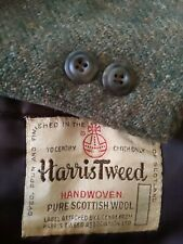 1960s 42XS Vintage Harris Tweed Scotland Green Fleck Blazer Sport Coat Jacket