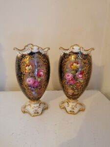 Superb Pair of Royal Doulton porcelain hand painted vases signed Edwin wood
