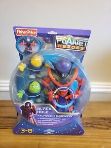 Fisher Price Planet Heroes Black Hole Professor Darkness Lights Action Figures