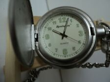 891879186 REMINGTON POCKET WATCH BRUSHED SILVER TONE GLOW IN DARK NUMBERS CHAIN
