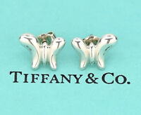 TIFFANY&Co Butterfly Stud Earrings Peretti Silver 925 w/BOX v942
