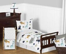 Sweet Jojo Navy Blue Grey Mod Jungle Safari Boy Girl Bedding Comforter Sheet Set