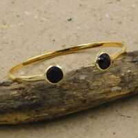 Solid 925 Sterling Silver Jewelry Black Onyx Gemstone Gold Plated Cuff Bracelet