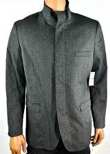 Alfani Mens Coat Jacket New L Gray Full Zip Button Long Sleeve Pocket Winter