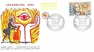 Enveloppe FDC France JACQUES DAVIEL 1963 LA BARRE EN OUCHE