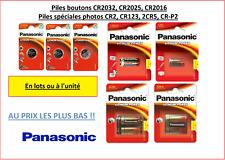 Pilas / Células Panasonic CR2032, CR2025, CR2016, CR2, CR123, 2CR5, CR-P2
