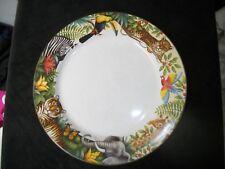 """Sakura """"MagicJungle"""" 12"""" Dinner Plate -  Parrot Giraffe Zebra Toucan"""