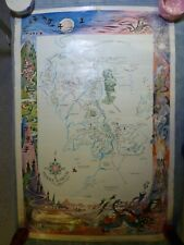Rare Lord of the Rings Original 1960's Poster, Map of Middle Earth, by Brem