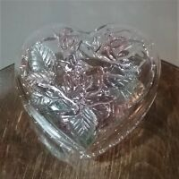 VINTAGE Heart Shaped Glass Clam Shell Box w/ Embossed Colored Roses Flowers